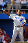 Florida Gators infielder Josh Tobias celebrates as he crosses home after Florida Gators catcher JJ Schwarz hits a home run during Game 2 of the Super Regionals as the Florida Gators defeat the Florida State Seminoles 11-4.  June 6th, 2015. Gator Country photo by David Bowie.