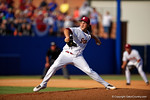 FSU pitcher Dylan Silva working the fourth inning during Game 2 of the Super Regionals as the Florida Gators defeat the Florida State Seminoles 11-4.  June 6th, 2015. Gator Country photo by David Bowie.