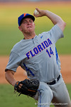 Florida Gators pitcher Bobby Poyner pitching in the eighth inning during Game 2 of the Super Regionals as the Florida Gators defeat the Florida State Seminoles 11-4.  June 6th, 2015. Gator Country photo by David Bowie.