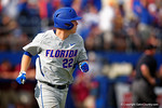 Florida Gators catcher JJ Schwarz looks on as the blasts a home run over the left field wall in the second inning during Game 2 of the Super Regionals as the Florida Gators defeat the Florida State Seminoles 11-4.  June 6th, 2015. Gator Country photo by David Bowie.