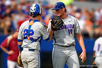 Florida Gators catcher JJ Schwarz comes out to talk to Florida Gators pitcher A.J. Puk during Game 2 of the Super Regionals as the Florida Gators defeat the Florida State Seminoles 11-4.  June 6th, 2015. Gator Country photo by David Bowie.