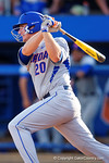 Florida Gators infielder Peter Alonso singles in the fifth inning during Game 2 of the Super Regionals as the Florida Gators defeat the Florida State Seminoles 11-4.  June 6th, 2015. Gator Country photo by David Bowie.