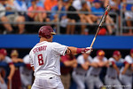 FSU outfielder DJ Stewart getting set at the plate during Game 2 of the Super Regionals as the Florida Gators defeat the Florida State Seminoles 11-4.  June 6th, 2015. Gator Country photo by David Bowie.
