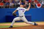 Florida Gators pitcher Bobby Poyner pitching in the ninth inning during Game 2 of the Super Regionals as the Florida Gators defeat the Florida State Seminoles 11-4.  June 6th, 2015. Gator Country photo by David Bowie.