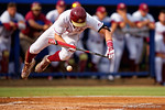 FSU shortstop Taylor Walls is hit by a pitch during Game 2 of the Super Regionals as the Florida Gators defeat the Florida State Seminoles 11-4.  June 6th, 2015. Gator Country photo by David Bowie.