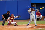 Florida Gators infielder Josh Tobias singles in the 8th inning during Game 2 of the Super Regionals as the Florida Gators defeat the Florida State Seminoles 11-4.  June 6th, 2015. Gator Country photo by David Bowie.