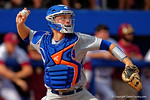 Florida Gators catcher JJ Schwarz throws to second during Game 2 of the Super Regionals as the Florida Gators defeat the Florida State Seminoles 11-4.  June 6th, 2015. Gator Country photo by David Bowie.