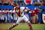 FSU catcher Danny De La Calle throws to first during Game 2 of the Super Regionals as the Florida Gators defeat the Florida State Seminoles 11-4.  June 6th, 2015. Gator Country photo by David Bowie.
