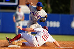 FSU first baseman Quincy Nieporte slides into second to break up the double play throw by Florida Gators shortstop Richie Martin during Game 2 of the Super Regionals as the Florida Gators defeat the Florida State Seminoles 11-4.  June 6th, 2015. Gator Country photo by David Bowie.