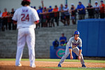 Florida Gators infielder Peter Alonso stares down FSU pitcher Dylan Silva as he leads off first base in the fifth inning during Game 2 of the Super Regionals as the Florida Gators defeat the Florida State Seminoles 11-4.  June 6th, 2015. Gator Country photo by David Bowie.