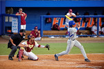 Florida Gators outfielder Buddy Reed swings at a pitch in the seventh inning during Game 2 of the Super Regionals as the Florida Gators defeat the Florida State Seminoles 11-4.  June 6th, 2015. Gator Country photo by David Bowie.