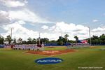 The teams take the field as they sing the National Anthem during Game 2 of the Super Regionals as the Florida Gators defeat the Florida State Seminoles 11-4.  June 6th, 2015. Gator Country photo by David Bowie.