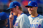 Florida Gators pitcher A.J. Puk flashes a smile as he walks into the dugout after retiring the Seminoles in the fourth inning during Game 2 of the Super Regionals as the Florida Gators defeat the Florida State Seminoles 11-4.  June 6th, 2015. Gator Country photo by David Bowie.
