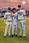 Florida Gators pitcher Logan Shore, Florida Gators outfielder Ryan Larson and Florida Gators pitcher A.J. Puk pose for the camera the Gators celebrate as they defeat the Florida State Seminoles 11-4 to advance to the College World Series for the first time since 2012.  June 6th, 2015. Gator Country photo by David Bowie.