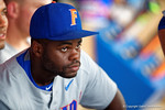 Florida Gators infielder Josh Tobias sits in the dugout pre-game during Game 2 of the Super Regionals as the Florida Gators defeat the Florida State Seminoles 11-4.  June 6th, 2015. Gator Country photo by David Bowie.