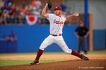 FSU pitcher Billy Strode working the ninth inning during Game 2 of the Super Regionals as the Florida Gators defeat the Florida State Seminoles 11-4.  June 6th, 2015. Gator Country photo by David Bowie.