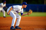 Florida Gators infielder Christian Hicks gets set at third for a pitch in the first inning.  Florida Gators Baseball vs South Carolina Gamecocks.  April 10th, 2015. Gator Country photo by David Bowie.