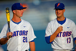 Florida Gators infielder Peter Alonso and Florida Gators pitcher Kirby Snead walk toward the dugout.  Florida Gators Baseball vs South Carolina Gamecocks.  April 10th, 2015. Gator Country photo by David Bowie.