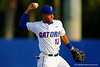 Florida Gators shortstop Richie Martin throws toward first base during the first inning.  Florida Gators Baseball vs South Carolina Gamecocks.  April 10th, 2015. Gator Country photo by David Bowie.