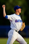 Florida Gators infielder Christian Hicks throws toward first base.  Florida Gators Baseball vs South Carolina Gamecocks.  April 10th, 2015. Gator Country photo by David Bowie.