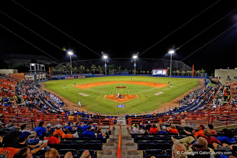 An overview of McKethan Stadium.  Florida Gators Baseball vs South Carolina Gamecocks.  April 10th, 2015. Gator Country photo by David Bowie.