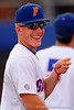 Florida Gators outfielder Harrison Bader flashes a smile for the fans.  Florida Gators Baseball vs South Carolina Gamecocks.  April 10th, 2015. Gator Country photo by David Bowie.