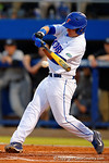 Florida Gators infielder Peter Alonso singles in the first inning.  Florida Gators Baseball vs South Carolina Gamecocks.  April 10th, 2015. Gator Country photo by David Bowie.