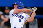 Florida Gators outfielder Harrison Bader launches a home run in the first inning.  Florida Gators Baseball vs South Carolina Gamecocks.  April 10th, 2015. Gator Country photo by David Bowie.