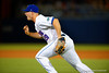 Florida Gators infielder Peter Alonso races in from first for a bunted ball.  Florida Gators Baseball vs South Carolina Gamecocks.  April 10th, 2015. Gator Country photo by David Bowie.