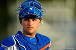 Florida Gators catcher Mike Rivera walks toward the dugout.  Florida Gators Baseball vs South Carolina Gamecocks.  April 10th, 2015. Gator Country photo by David Bowie.