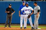 Florida Gators shortstop Richie Martin stands at first base.  Florida Gators Baseball vs South Carolina Gamecocks.  April 10th, 2015. Gator Country photo by David Bowie.