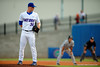 Florida Gators pitcher Logan Shore throws to the plate during the first inning.  Florida Gators Baseball vs South Carolina Gamecocks.  April 10th, 2015. Gator Country photo by David Bowie.