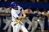Florida Gators infielder Peter Alonso swings and singles in the fifth inning.  Florida Gators Baseball vs South Carolina Gamecocks.  April 10th, 2015. Gator Country photo by David Bowie.