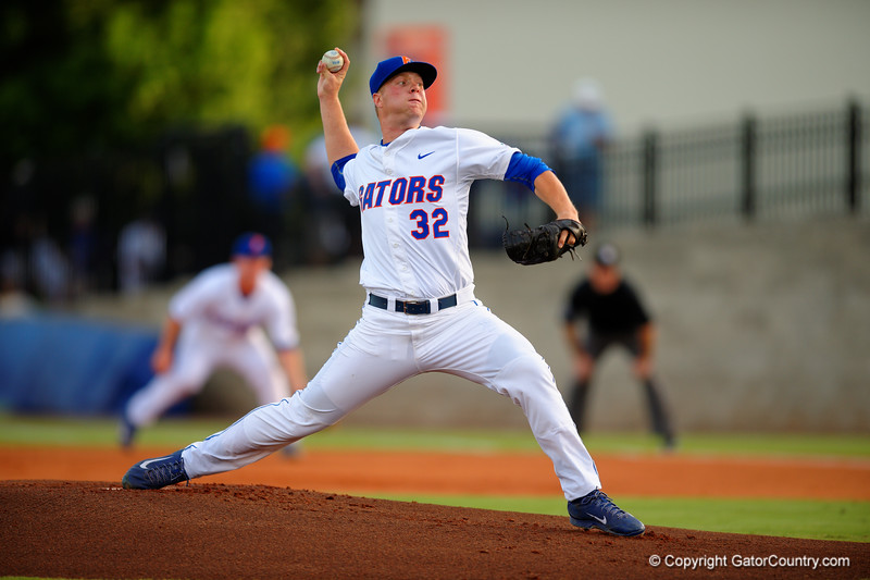 Florida Gators pitcher Logan Shore throws out the first pitch.  Florida Gators Baseball vs South Carolina Gamecocks.  April 10th, 2015. Gator Country photo by David Bowie.