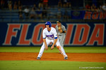 Florida Gators infielder Peter Alonso leads off from second base.  Florida Gators Baseball vs South Carolina Gamecocks.  April 10th, 2015. Gator Country photo by David Bowie.