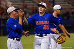 Florida Gators outfielder Danny Reyes is congratulated after making a diving catch, as the No. 1 overall seed Florida Gators conclude their opening sweep of the Gainesville Regional by beating Georgia Tech 10-1 in the final at McKethan Stadium.  June 5th, 2016. Gator Country photo by David Bowie.