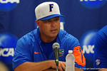 Florida Gators head coach Kevin O'Sullivan at the post-game press conference, as the No. 1 overall seed Florida Gators conclude their opening sweep of the Gainesville Regional by beating Georgia Tech 10-1 in the final at McKethan Stadium.  June 5th, 2016. Gator Country photo by David Bowie.