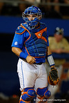 Florida Gators catcher Mike Rivera looks to the dugout, as the No. 1 overall seed Florida Gators conclude their opening sweep of the Gainesville Regional by beating Georgia Tech 10-1 in the final at McKethan Stadium.  June 5th, 2016. Gator Country photo by David Bowie.