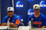 Florida Gators head coach Kevin O'Sullivan and Florida Gators first baseman Peter Alonso at the post-game press conference, as the No. 1 overall seed Florida Gators conclude their opening sweep of the Gainesville Regional by beating Georgia Tech 10-1 in the final at McKethan Stadium.  June 5th, 2016. Gator Country photo by David Bowie.