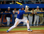 Florida Gators first baseman Peter Alonso swinging at a pitch as the No. 1 overall seed Florida Gators conclude their opening sweep of the Gainesville Regional by beating Georgia Tech 10-1 in the final at McKethan Stadium.  June 5th, 2016. Gator Country photo by David Bowie.