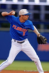 Florida Gators shortstop Dalton Guthrie throws to first as the No. 1 overall seed Florida Gators conclude their opening sweep of the Gainesville Regional by beating Georgia Tech 10-1 in the final at McKethan Stadium.  June 5th, 2016. Gator Country photo by David Bowie.