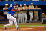 Florida Gators second baseman Deacon Liput hits a trickler as the No. 1 overall seed Florida Gators conclude their opening sweep of the Gainesville Regional by beating Georgia Tech 10-1 in the final at McKethan Stadium.  June 5th, 2016. Gator Country photo by David Bowie.