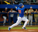 Florida Gators catcher JJ Schwarz drives a ball deep to the wall as the No. 1 overall seed Florida Gators conclude their opening sweep of the Gainesville Regional by beating Georgia Tech 10-1 in the final at McKethan Stadium.  June 5th, 2016. Gator Country photo by David Bowie.