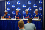 Florida Gators head coach Kevin O'Sullivan and Gator players Peter Alonzo, Alex Faedo and Jonathan India at the post-game press conference, as the No. 1 overall seed Florida Gators conclude their opening sweep of the Gainesville Regional by beating Georgia Tech 10-1 in the final at McKethan Stadium.  June 5th, 2016. Gator Country photo by David Bowie.