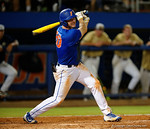 Florida Gators first baseman Peter Alonso swing at a pitch, as the No. 1 overall seed Florida Gators conclude their opening sweep of the Gainesville Regional by beating Georgia Tech 10-1 in the final at McKethan Stadium.  June 5th, 2016. Gator Country photo by David Bowie.
