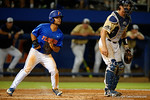 Florida Gators infielder Nelson Maldonado watches the play develop after scoring, as the No. 1 overall seed Florida Gators conclude their opening sweep of the Gainesville Regional by beating Georgia Tech 10-1 in the final at McKethan Stadium.  June 5th, 2016. Gator Country photo by David Bowie.