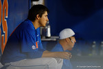 Florida Gators pitcher Alex Faedo resting in the dugout between innings as the No. 1 overall seed Florida Gators conclude their opening sweep of the Gainesville Regional by beating Georgia Tech 10-1 in the final at McKethan Stadium.  June 5th, 2016. Gator Country photo by David Bowie.