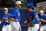 Florida Gators pitcher Shaun Anderson and Florida Gators catcher Mike Rivera celebrate as the No. 1 overall seed Florida Gators conclude their opening sweep of the Gainesville Regional by beating Georgia Tech 10-1 in the final at McKethan Stadium.  June 5th, 2016. Gator Country photo by David Bowie.