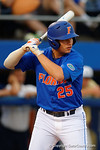 Florida Gators outfielder Danny Reyes at the plate as the No. 1 overall seed Florida Gators conclude their opening sweep of the Gainesville Regional by beating Georgia Tech 10-1 in the final at McKethan Stadium.  June 5th, 2016. Gator Country photo by David Bowie.