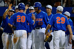 Florida Gators first baseman Peter Alonso is congratulated by the Gators after scoring, as the No. 1 overall seed Florida Gators conclude their opening sweep of the Gainesville Regional by beating Georgia Tech 10-1 in the final at McKethan Stadium.  June 5th, 2016. Gator Country photo by David Bowie.